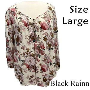 Black Rainn Floral Blouse Long Sleeve Size Large